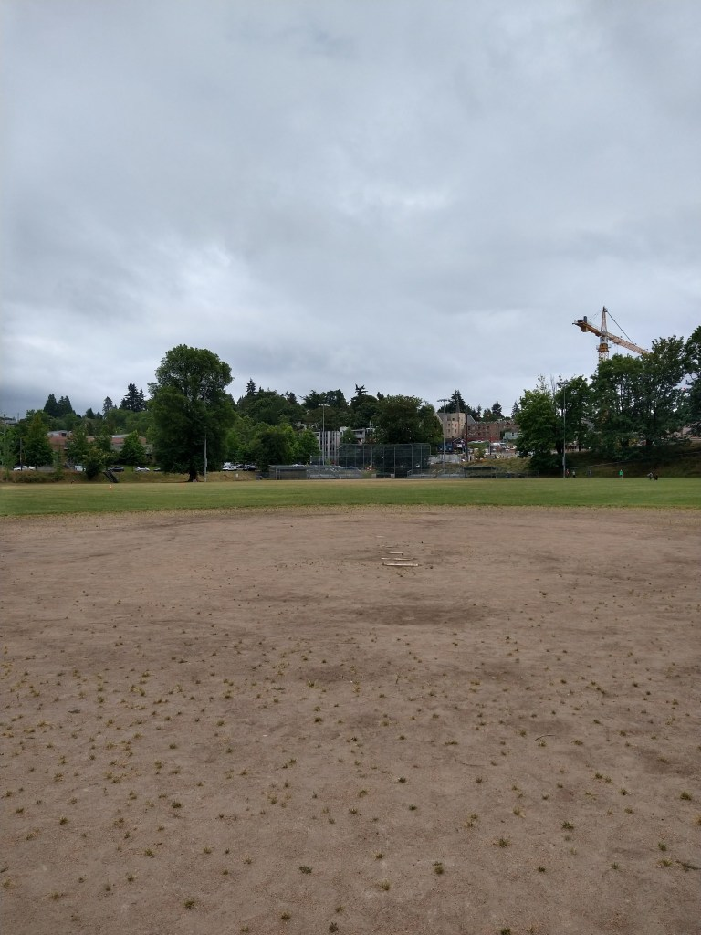 A baseball diamond from the right handed batters box.