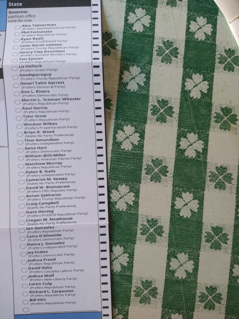 Picture of the voters ballot in WA. Picture focus is of the candidates running for state governor.