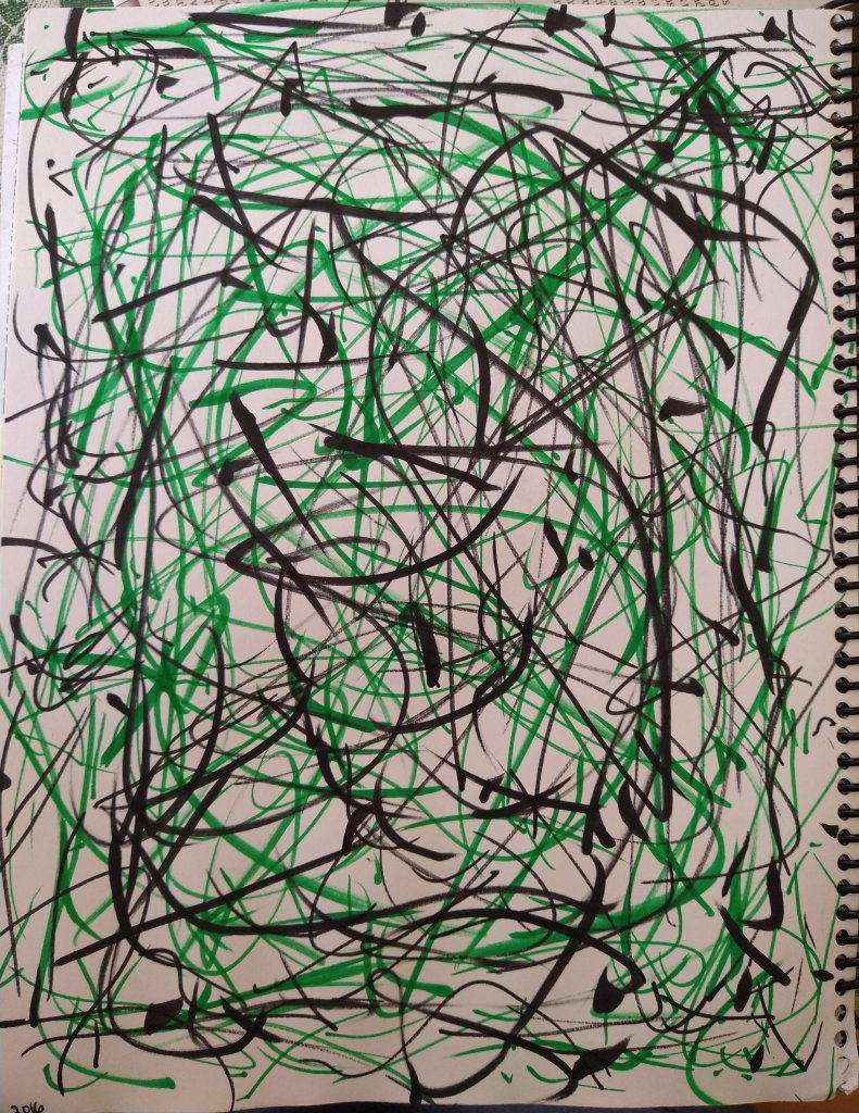 Anxiety Shock: An art piece I created with Tombow green and black markers in 2016. It's my attempt at a tornado style Jackson Pollock piece.