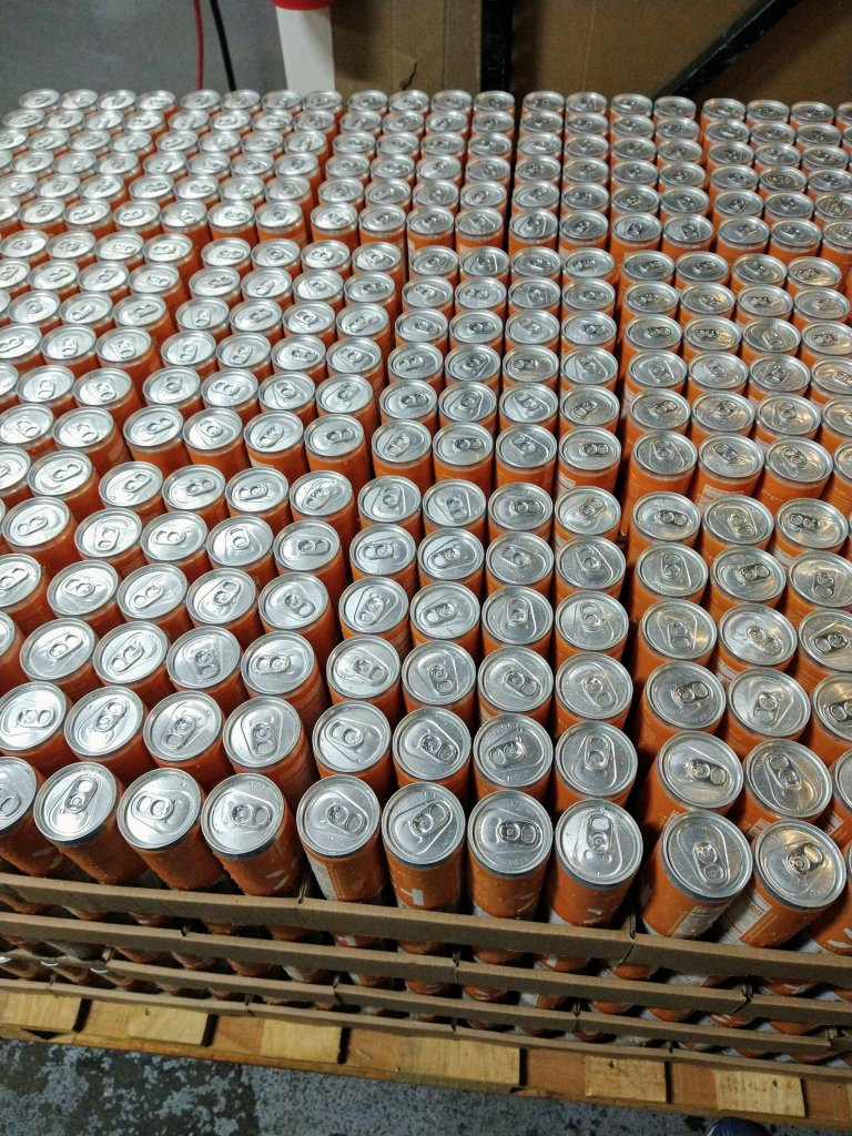 pallet of cans, boxed