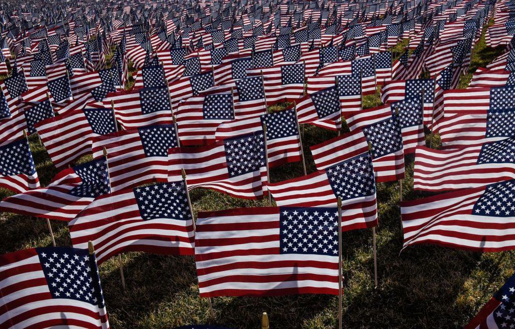 Flags in honor of those lost to covid during the inauguration of president Joe Biden. Stephanie Keith/Getty Images