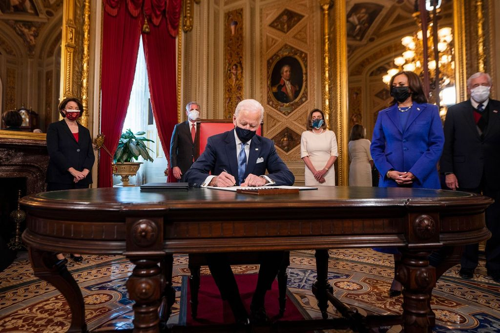 Biden signs three documents after his inauguration ceremony: his inauguration day proclamation, his nominations for the Cabinet, and his nominations for sub-Cabinet positions.Jim Lo Scalzo/Pool/AP
